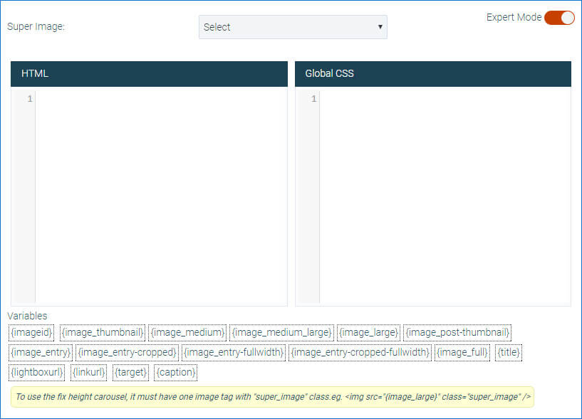 Expert Mode in Super Carousel WordPress Plugin